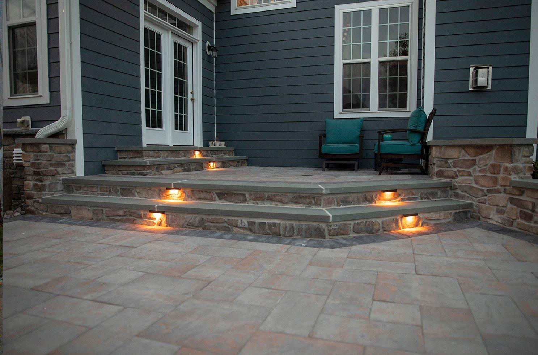 deck stone light installation